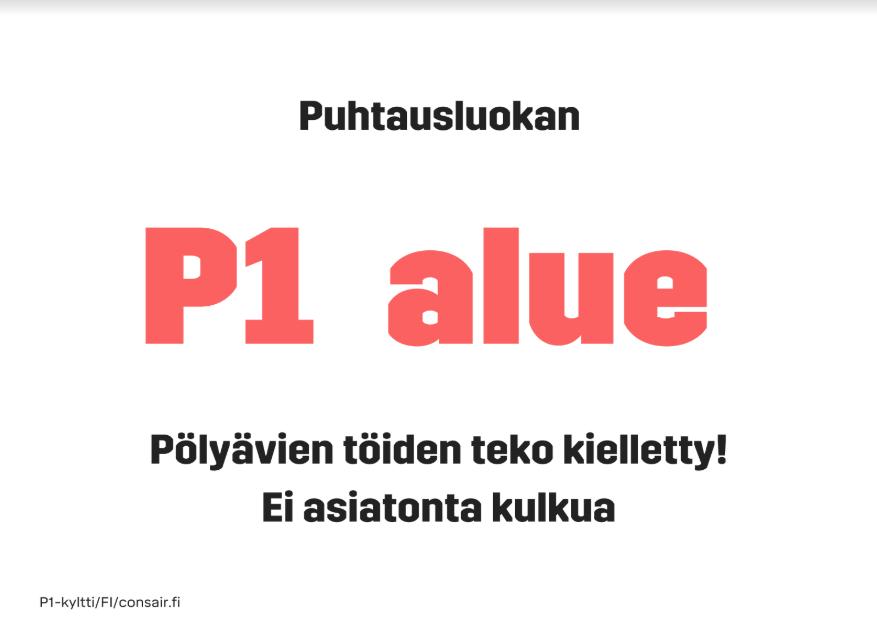 P1-puhtausluokan kyltit monikielisinä - lataa